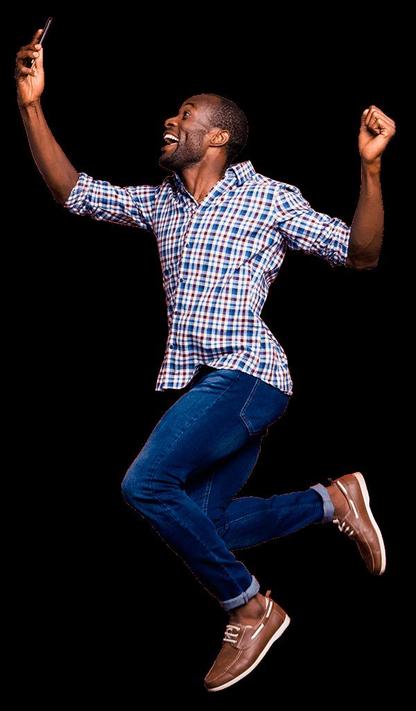 jumping man with blaze media marketing