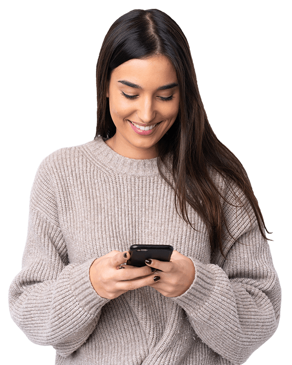 Girl on her phone looking at a website using seo