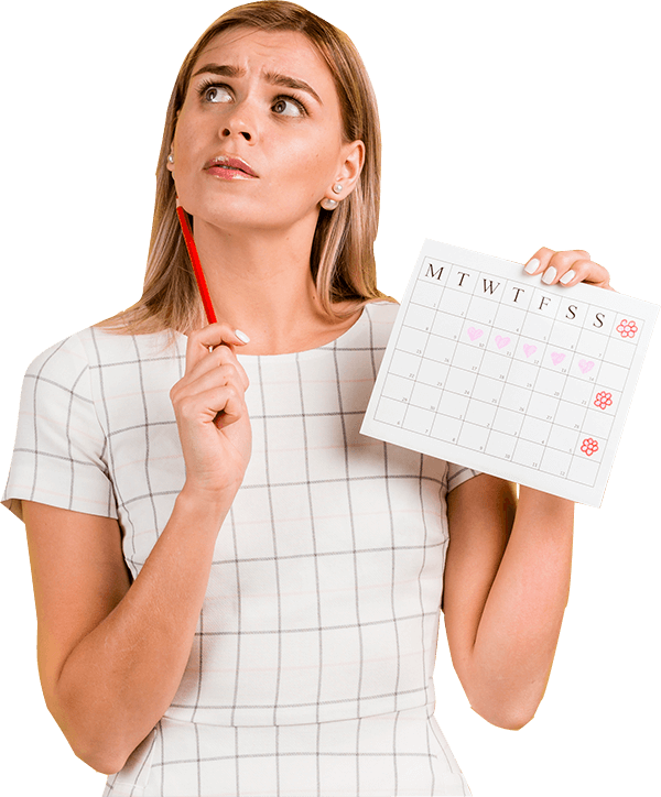 woman holding a calender thinking about online booking system