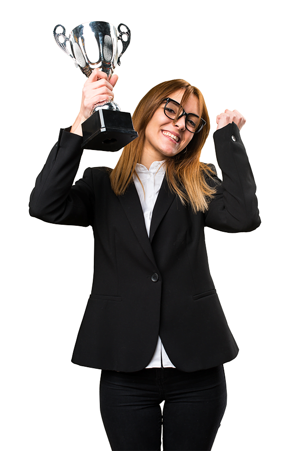 woman with trophy cheering for pay per click