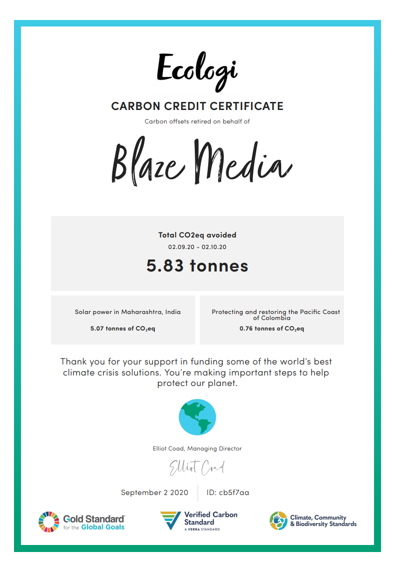 Ecologi Certificate September BlazeMedia