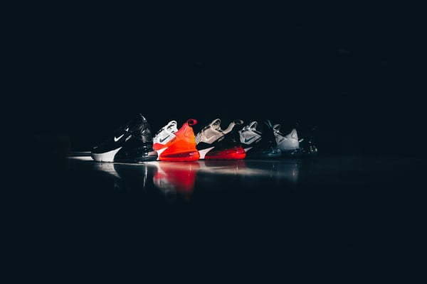 Nike's branding - a shot of a row of their trainers