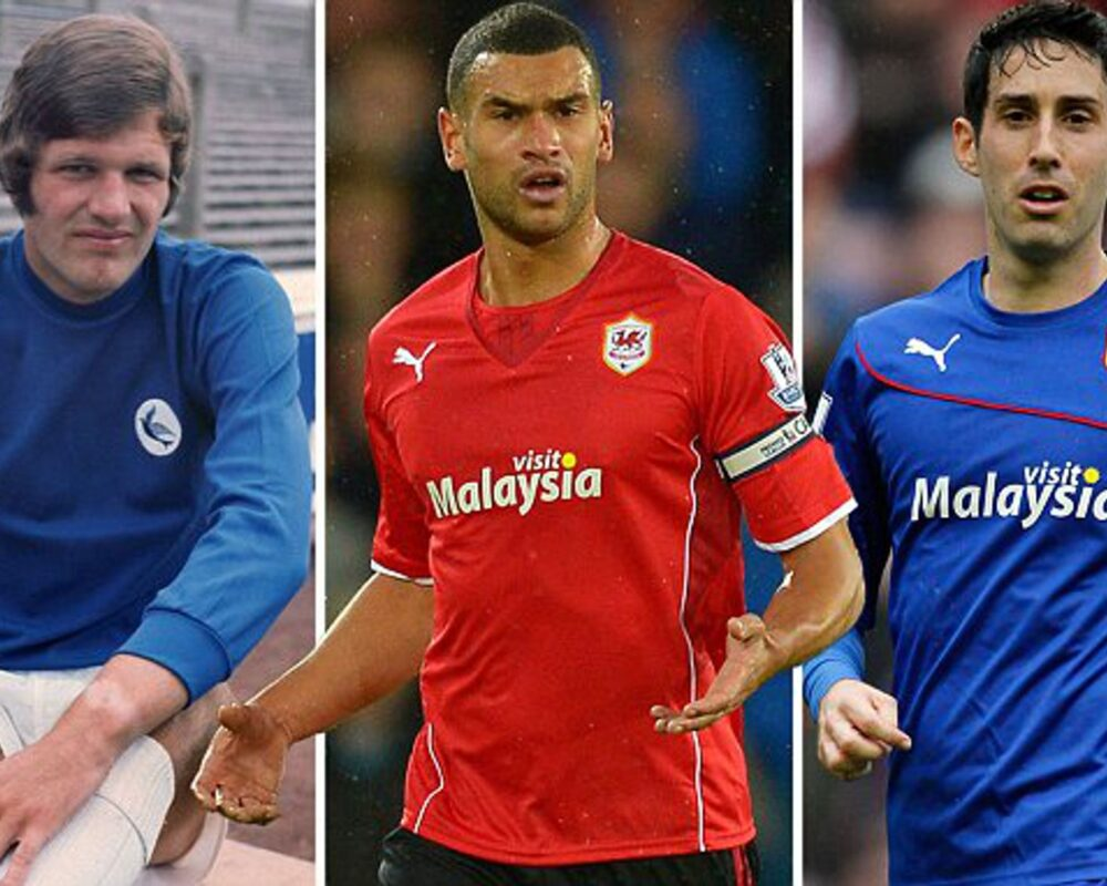 Photos of Cardiff Cities red and blue football kits