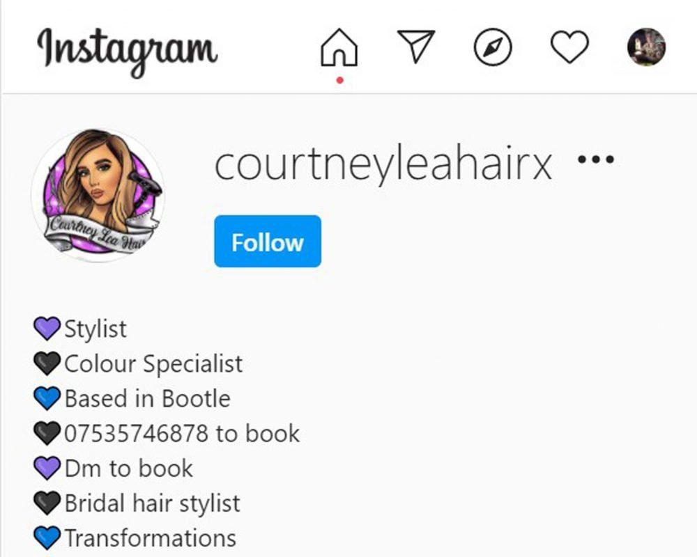 Courtney Leah Hair Bootle Instagram Profile