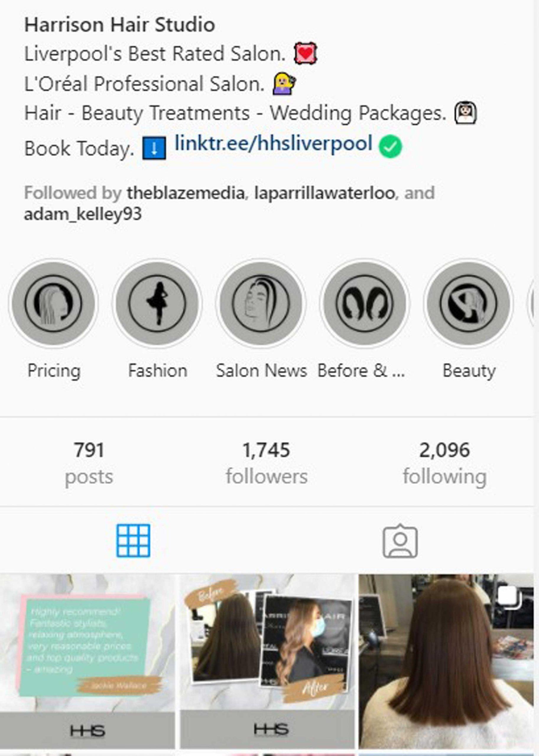 Harrison Hair Studio Bootle Instagram Profile, Story Highlights & Newsfeed