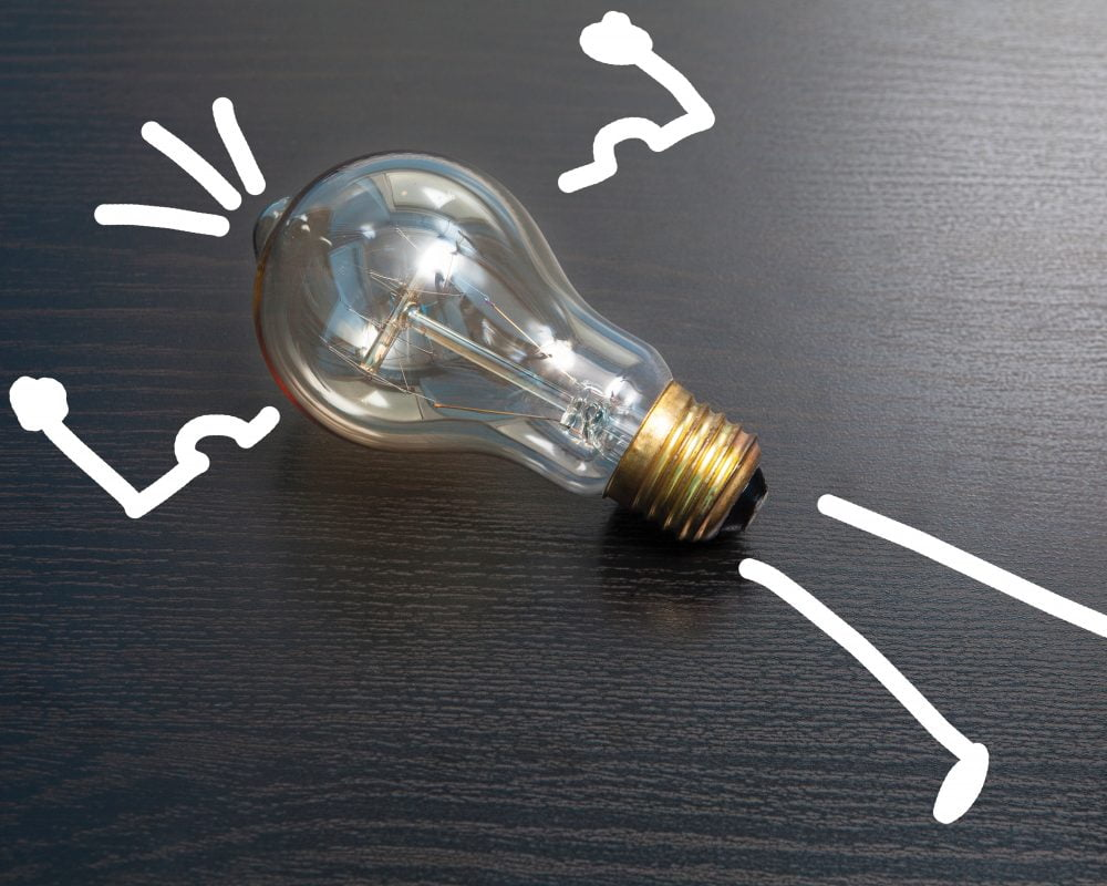 lightbulb used as the body to a cartoon man - lightbulb moment!