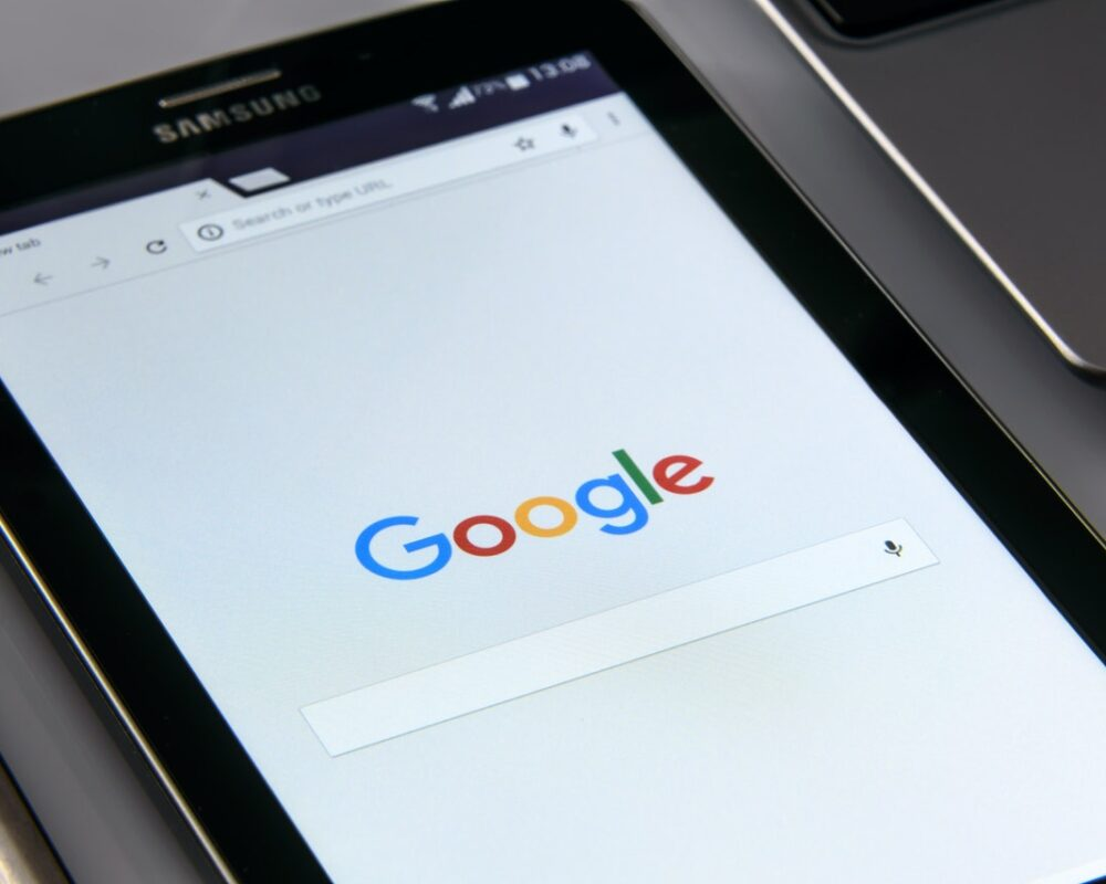 Google page on a tablet